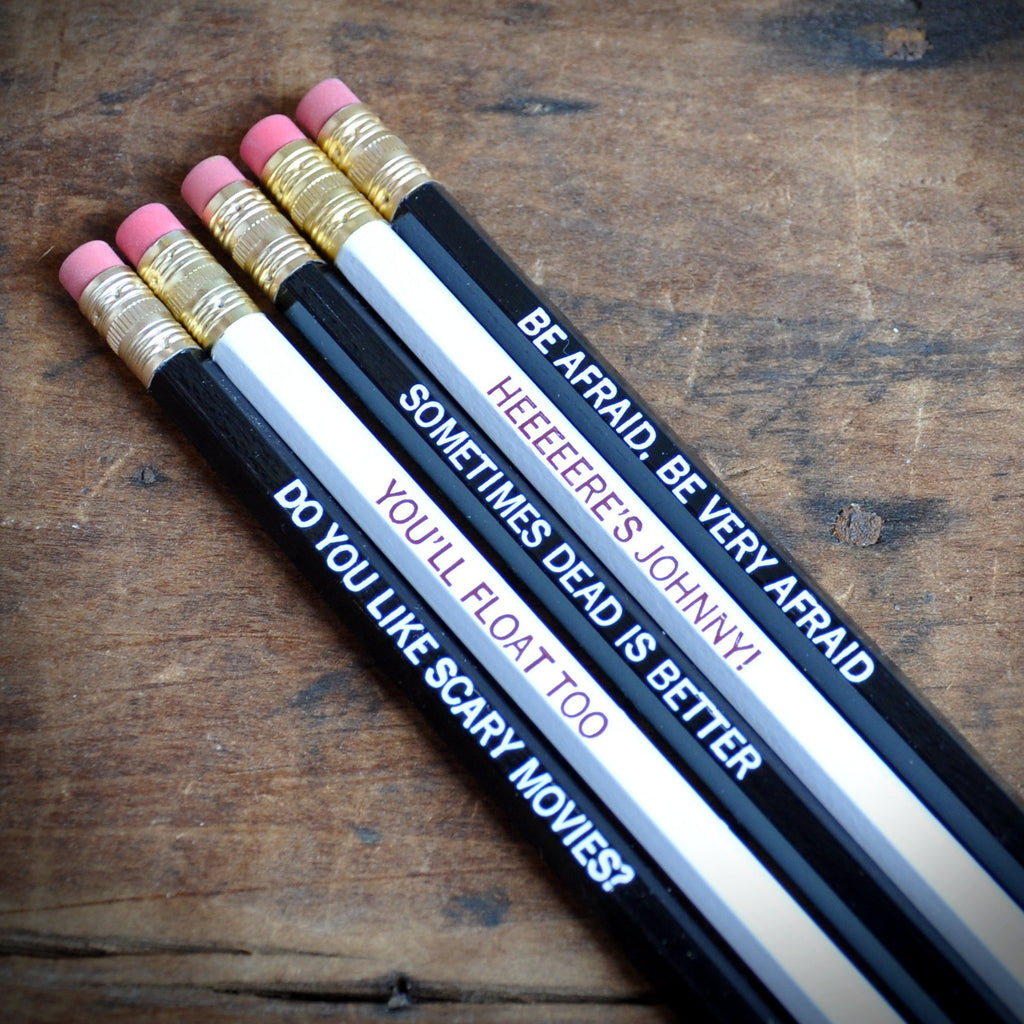 Horror Flicks Quote Pencils ~ Set of 5