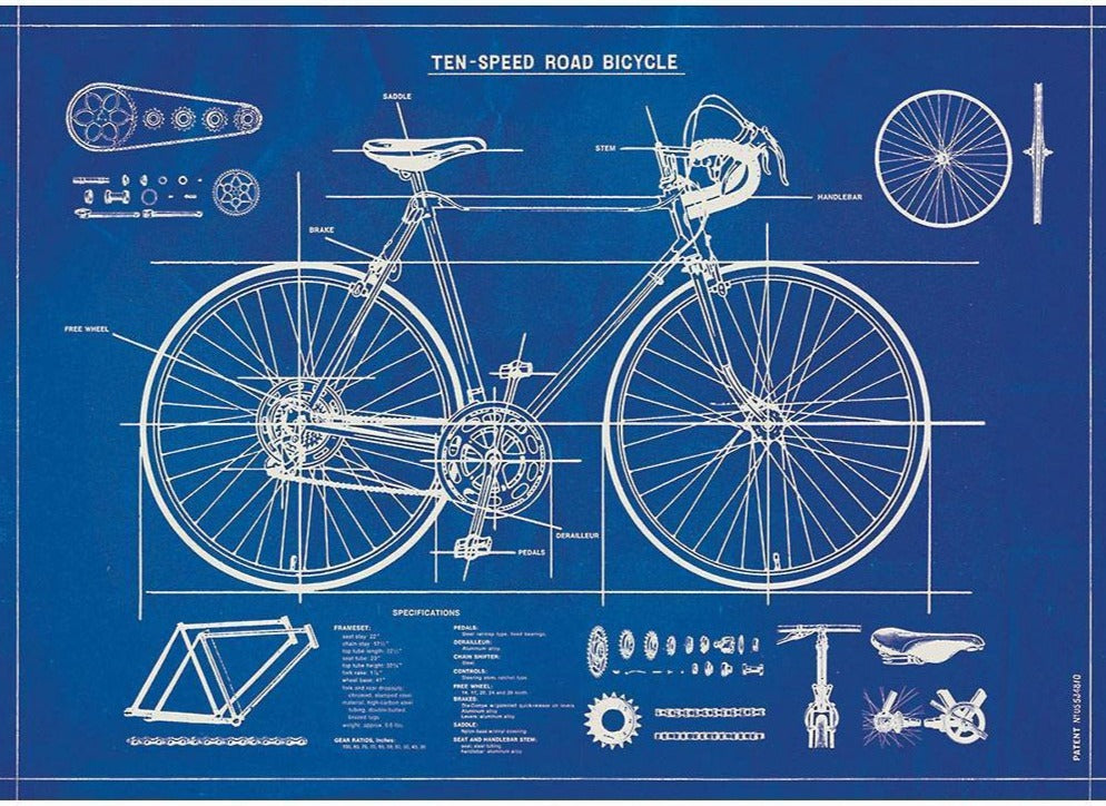 Bicycle Blue Print Cavallini Flat Wrap