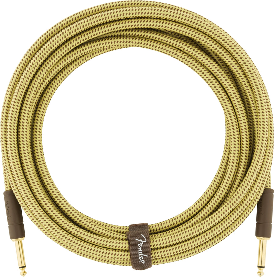Fender Deluxe Series Instrument Cable, Tweed, 18.6' Feet - Artisan Guitars
