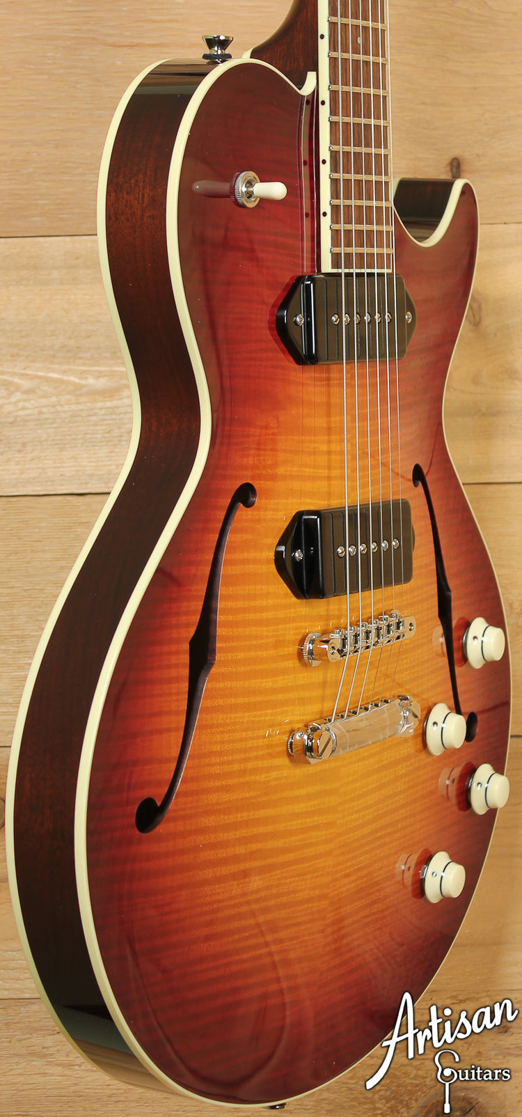 Collings SoCo Deluxe Tobacco Sunburst Flame Top P90 Dogear Pickups ID-7192 - Artisan Guitars