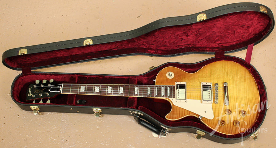 1998 Gibson Les Paul 58 RI Lefty with Flamed Maple and Honeyburst Finish ID-9246 - Artisan Guitars