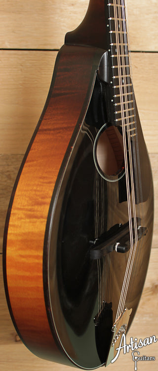 Collings MT O Custom Oval Hole Mandolin Black Face with Flame Maple Back and Sides ID-6703 - Artisan Guitars