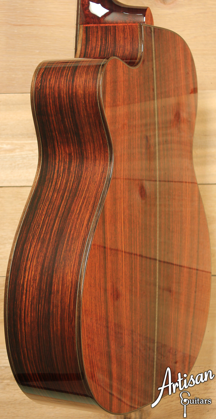 Huss and Dalton Custom OMC Red Spruce and Cocobolo with Cutaway ID-7169 - Artisan Guitars