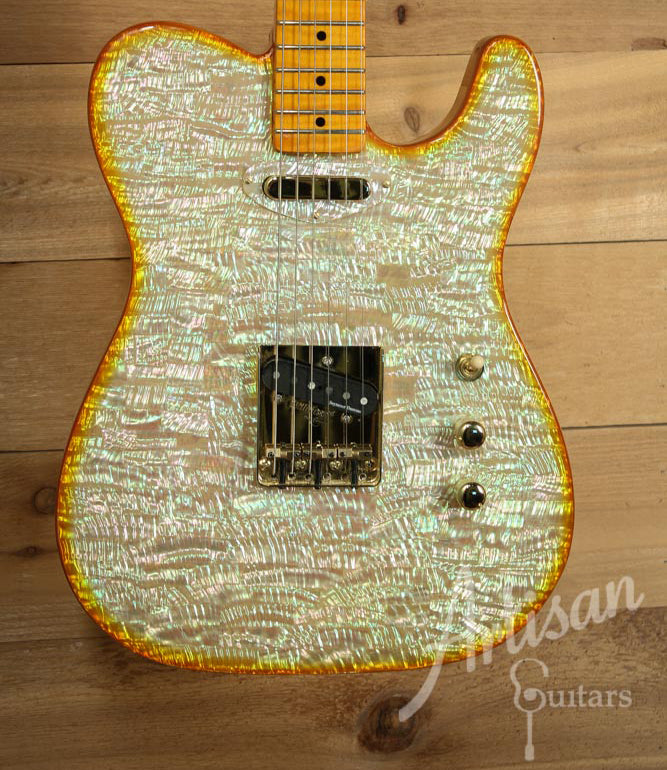 Pre-Owned 2014 Pearlvibe Golden Halo Whiter Shade of Pearl Tele Guitar ID-9546