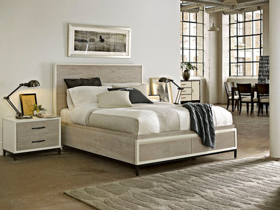 SPENCER KING STORAGE BED in Parchment Finish