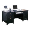 Tribeca Loft Double Pedestal Computer Desk - Black Finish