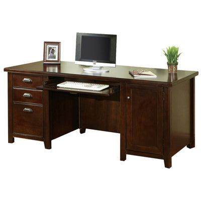 Tribeca Loft Double Pedestal Computer Desk - Cherry Finish