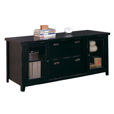 Tribeca Loft Storage Credenza - Black Finish