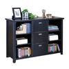 Tribeca 3 Drawer Lateral File Bookcase- Black Finish