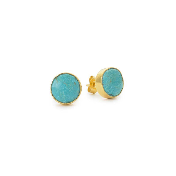 round mini stud earrings in turquoise