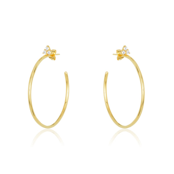 smooth gold vermeil hoop with white topaz stud