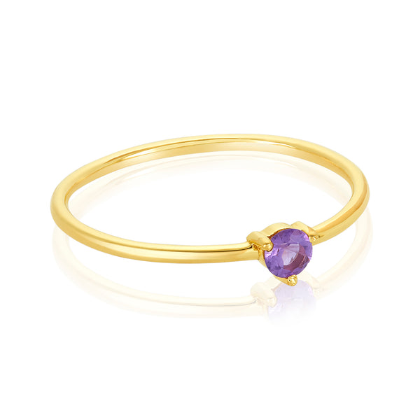 dainty ring made of 24 karat gold fill and amethyst