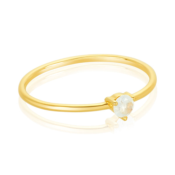 dainty ring made of 24 karat gold fill and aquamarine