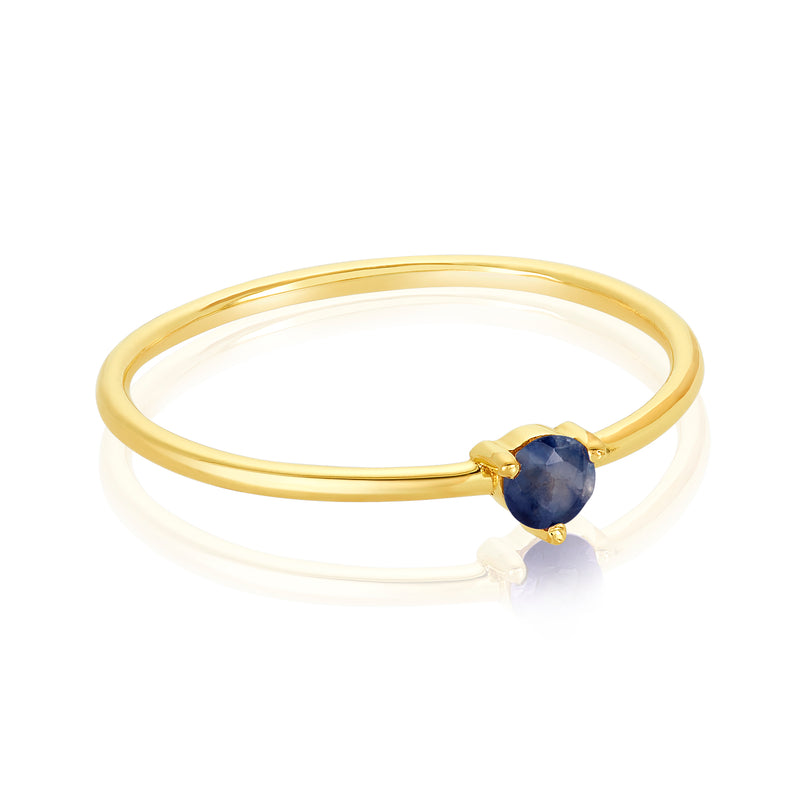 dainty ring made of 24 karat gold fill and blue sapphire