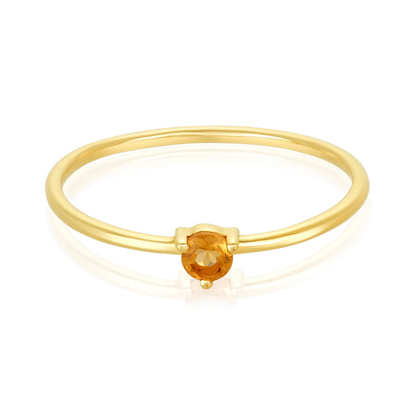 dainty ring made of 24 karat gold fill and citrine stone