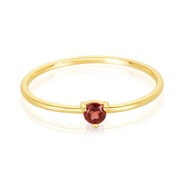 dainty ring made of 24 karat gold fill and garnet