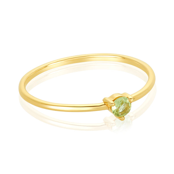 dainty ring made of 24 karat gold fill and peridot