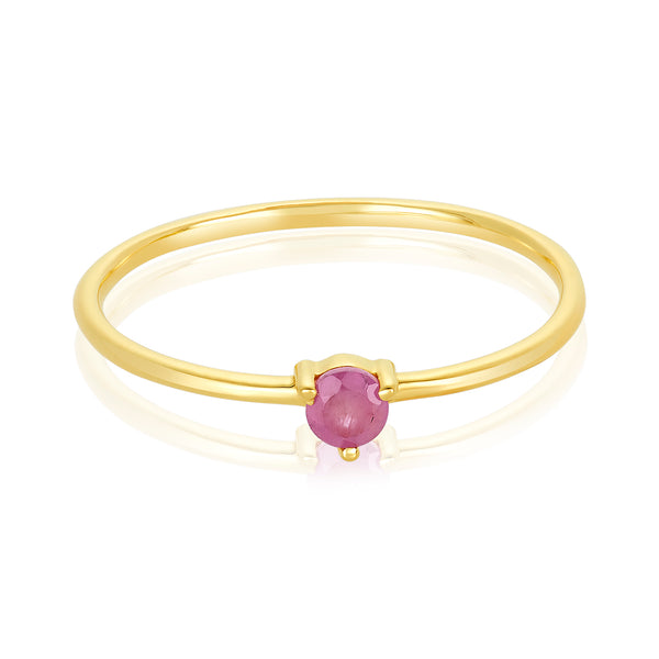 dainty ring made of 24 karat gold fill and ruby