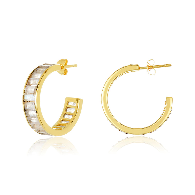 Channel Set Hoops - Moonstone