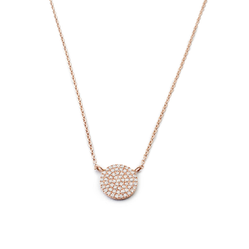 Diamond Pavé Rose Gold Disc Necklace