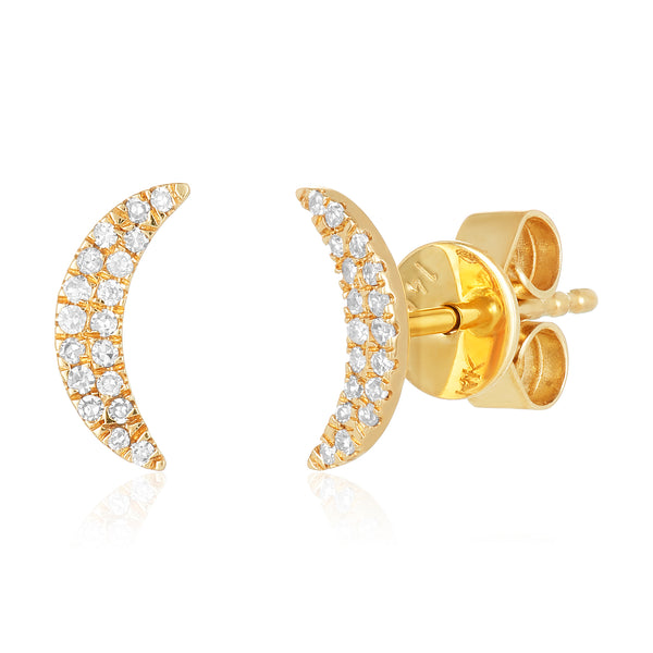Crescent-moon shaped stud earrings in 14 karat gold with diamond pavé surface.