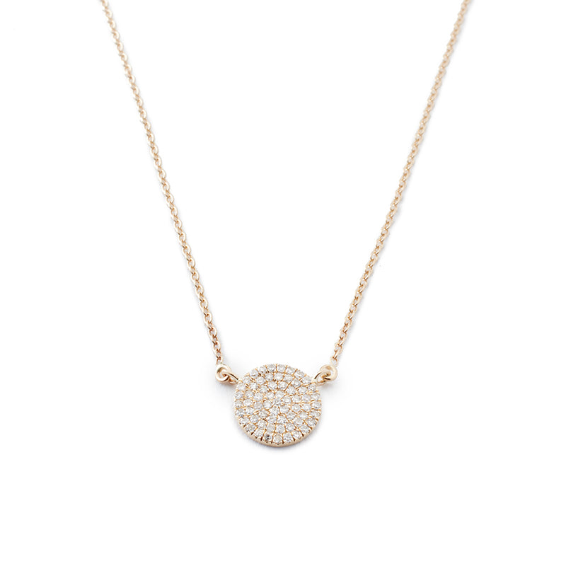 Diamond Pavé Yellow Gold Disc Necklace