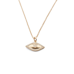 14 karat yellow gold necklace with diamond evil eye pendant