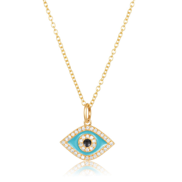 14 karat gold necklace with small evil eye pointed oval pendant with center solitaire, diamond pavé trim and turquoise enamel accents.