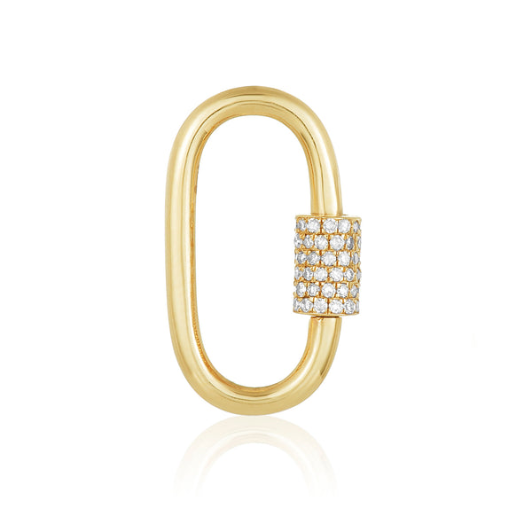 oval shaped charm in 14 karat yellow gold with diamond pavé screw lock feature.