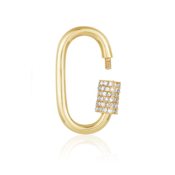 oval shaped charm in 14 karat yellow gold with diamond pavé screw lock feature, shown open.