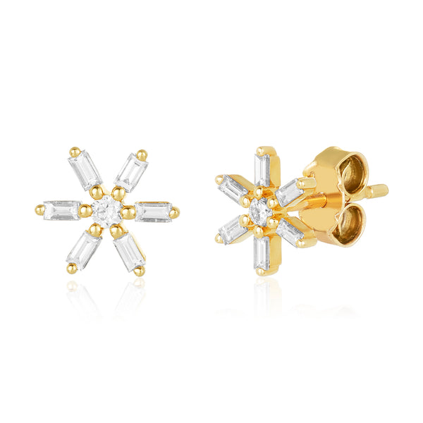 Daisy-shaped stud earrings in 14 karat gold with diamond baguette petals and center round diamond solitaire.