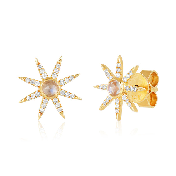 Pointed star studs in 14 karat gold with center moonstone cabochon flanked by points set in diamond pavé