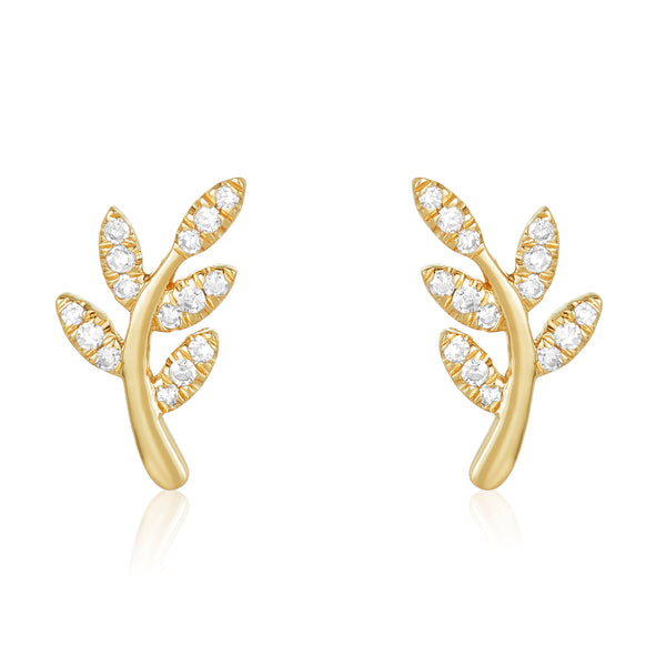 Dainty studs in a leaf motif in 14 karat yellow gold with diamond pavé on the leaves.