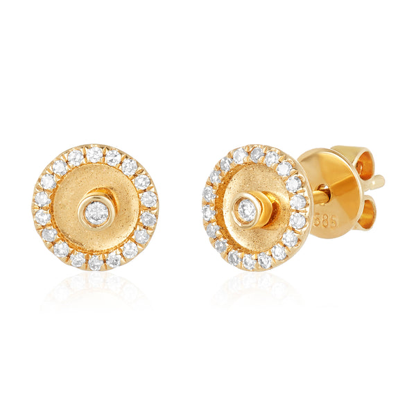 Diamond stud earrings with 14 karat yellow gold and diamond jacket.