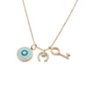 Diamond & Enamel Three-Charm Necklace