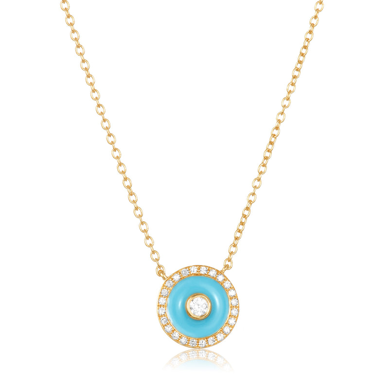 14 karat gold necklace with small circular disc pendant with diamond solitaire center, diamond pavé edge and turquoise enamel accent.