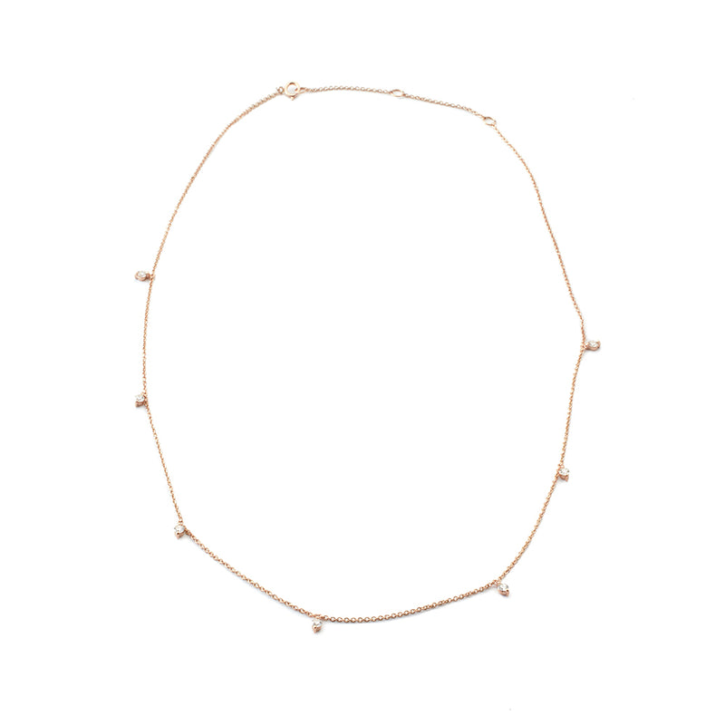 Floating Diamonds Rose Gold Necklae