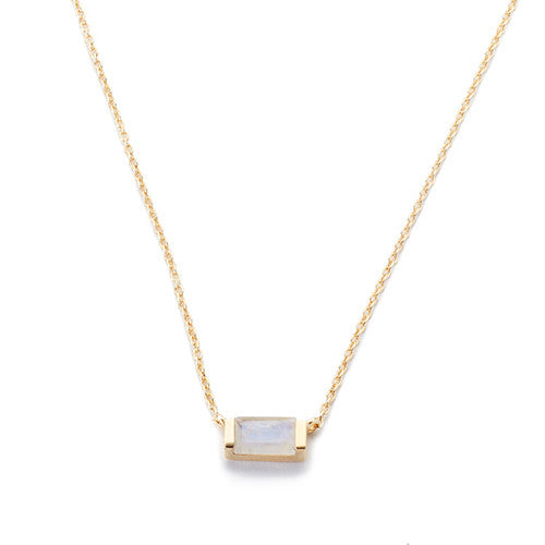 Channel Set Drop Necklace Moonstone