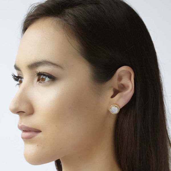 round stud earring in moonstone inside a circle of tiny white topaz stones