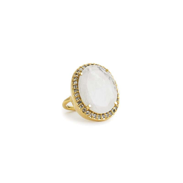 statement cocktail ring in moonstone with white topaz