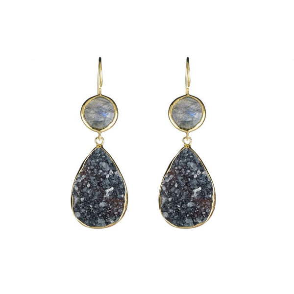 Two stone drop earrings in labradorite and black druzy