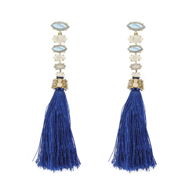 Laurel Tassel Earrings Labradorite, Moonstone & Lapis