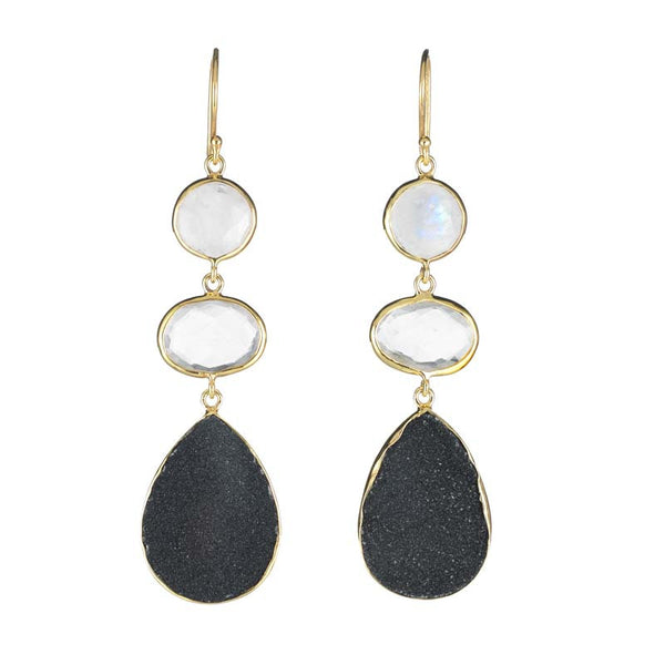 three stone drop earrings in moonstone and clear quartz and black druzy