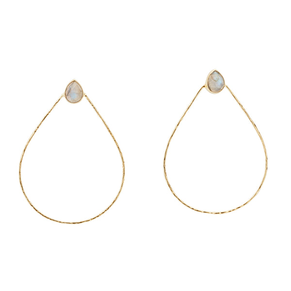Teardrop Hoops Moonstone