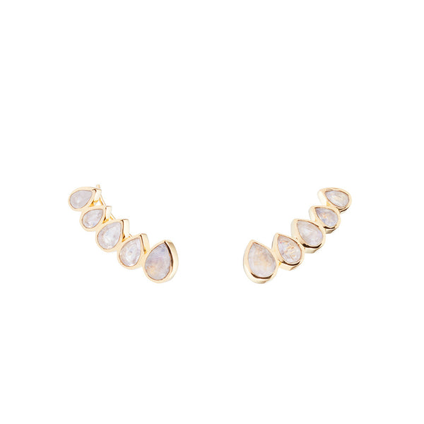 ear crawlers with five teardrop shaped moonstones