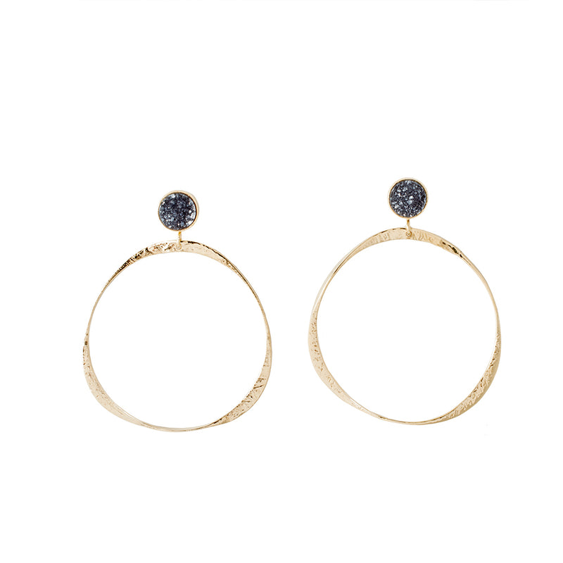 Harbour Hoops Black Druzy