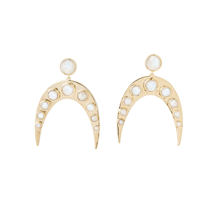 horseshoe statement earring with moonstone cabochons