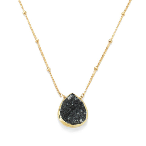 Bezel Necklace Black Druzy