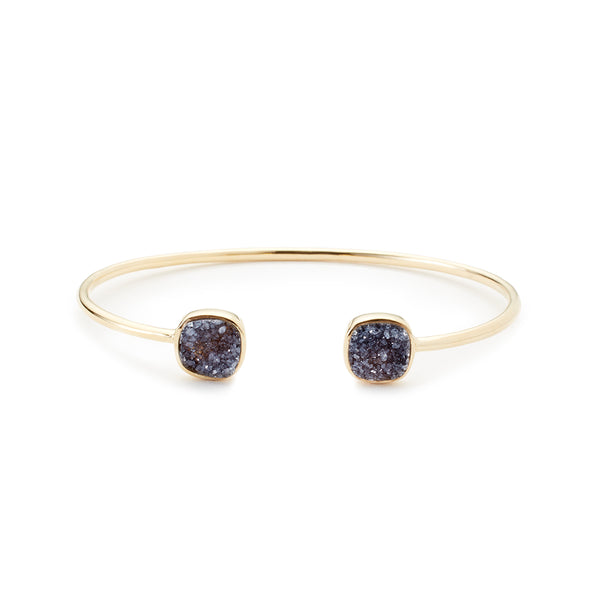 Cushion Cut Bangle Black Druzy