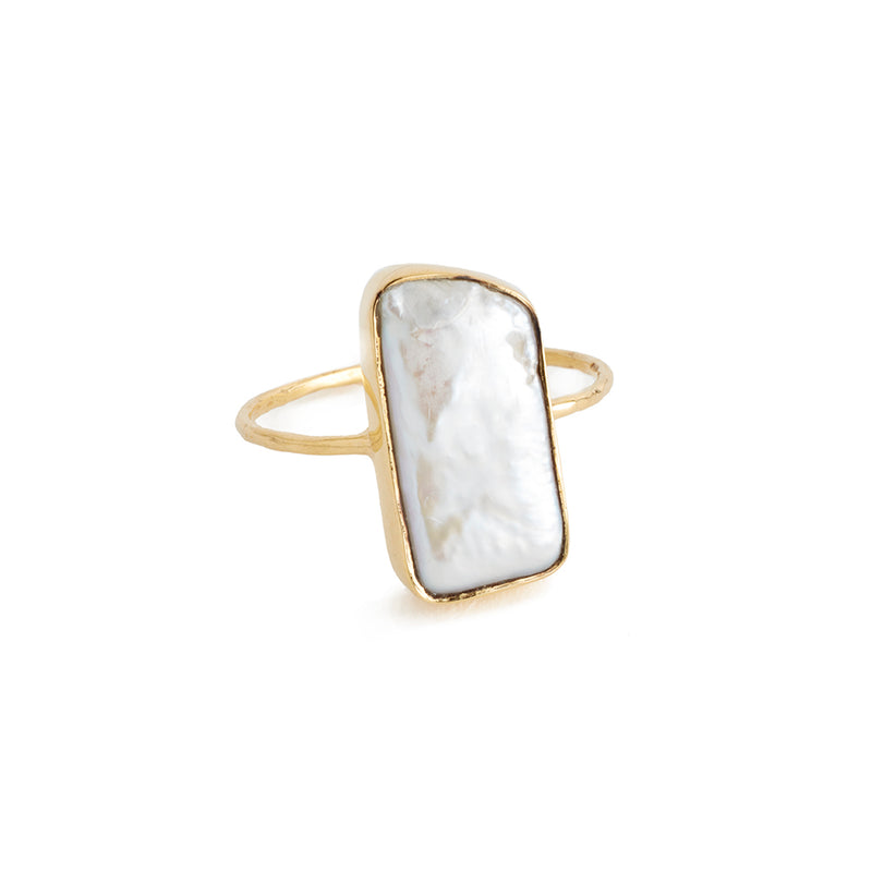 rectangular pearl cocktail ring